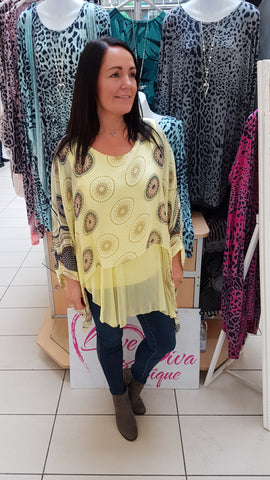 Silk Top In Stunning Disc Print In Lemon