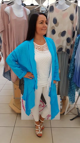 Beautiful Layered Linen Coat In Turquoise