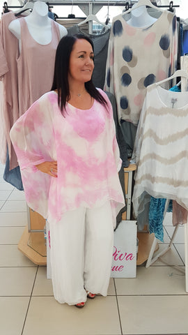 Tye Dye Silk Top In Candy Pink