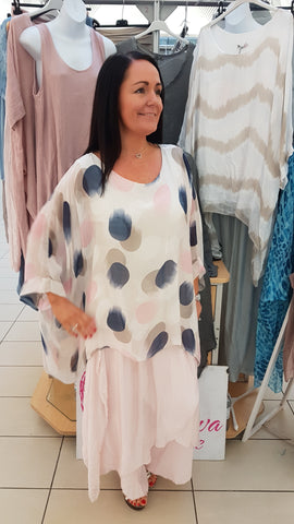 Stunning Silk Top In Giant Dot Print