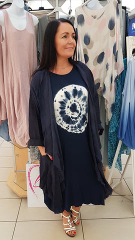 Beautiful Layered Linen Coat In Navy