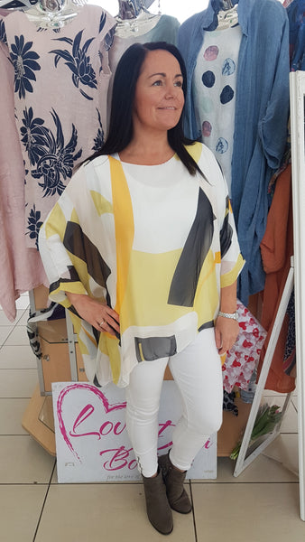 Silk Top In Classic Abstract Print In Yellow