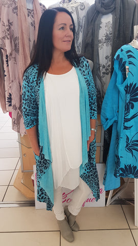Leopard Print Waterfall Cardigan In Turquoise
