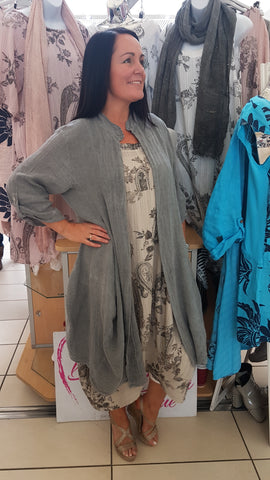 Beautiful Layered Linen Coat In Charcoal