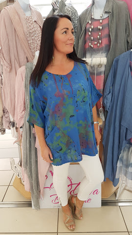 Funky Oversized Cotton Top In Cobalt Blue Vibrant Print
