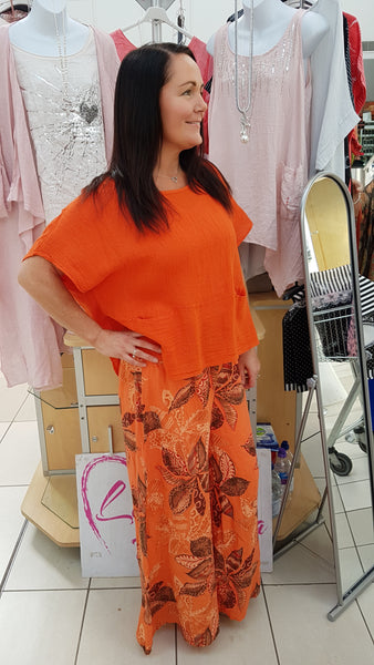 Gorgeous Pallazo Print Pants In Orange