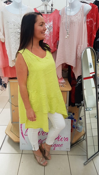 Asymmetric Cool Linen Top In Lime Green
