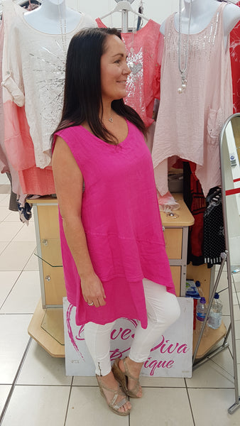 Asymmetric Cool Linen Top In Hot Pink