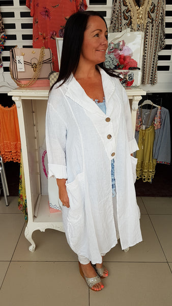 Beautiful Linen Coat In White With Button Detail