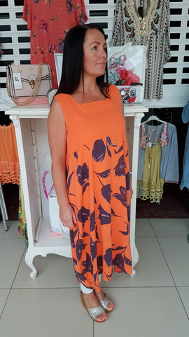 Classy Cotton/linen Dress Orange/Navy Tulip Print