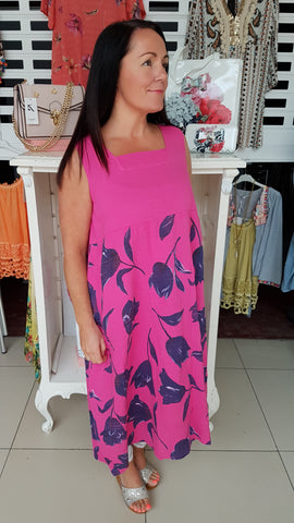 Classy Cotton/linen Dress Hot Pink/Navy Tulip Print