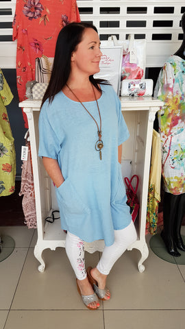 Elegant Oversized Cotton Top In Denim Blue