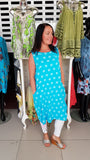 Cute Cotton/linen Dress In Turquoise With Polka Dots