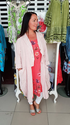 Beautiful Linen Coat In Pink With Button Detail