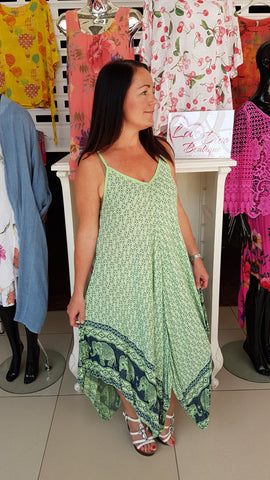 Cool Elephant Cotton Dress In Apple Green