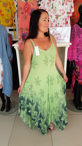 Cool Floral Cotton Dress In Apple Green