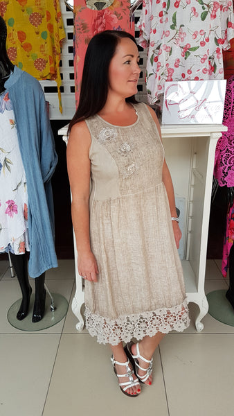 Pretty Linen Dress With Embroidery Detail In Mocha