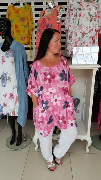 Floral Oversized Cotton Top In Hot Pink