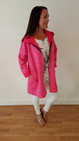 Angel Wings Jacket In Hot Pink Brushed Swede