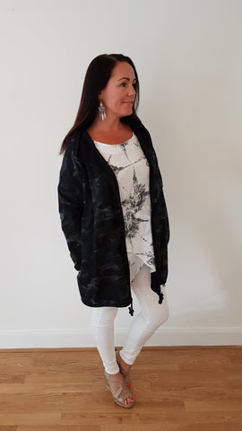 Angel Wings Jacket In Camo Black/Grey Heavy Cotton