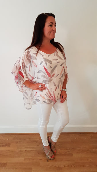 Stunning Silk Floral Print In Soft Pink