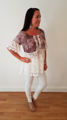 Pretty Cotton Top In Mocha With Lace Detail