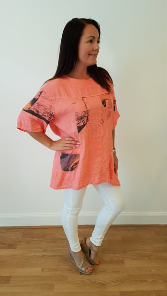 Cool Linen Top In Coral