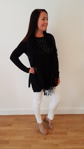 Elegant Bling Jumper With Matching Funky Scarf in Black