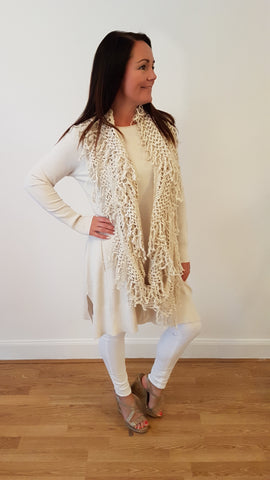 Elegant Jumper With Matching Funky Scarf in Cream