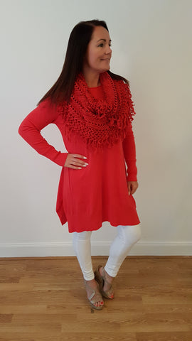 Elegant Jumper With Matching Funky Scarf in Red