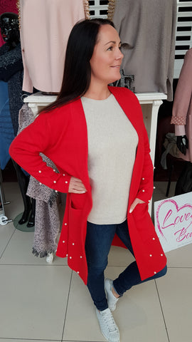 Cherry Red Cardigan With Pearl Detail