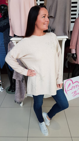 Oversized Supersoft Jumper In Stone With Bling Stars