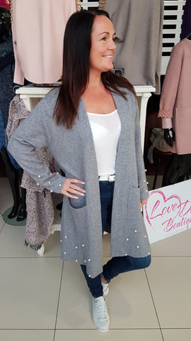Silver Grey Cardigan With Pearl Detail