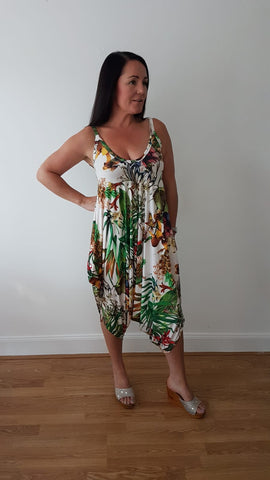 Tropical Print Jumpsuit In Ivory