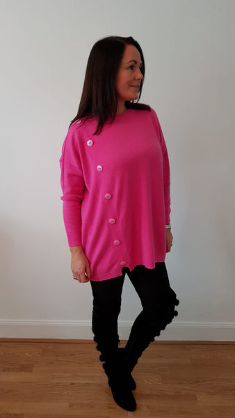 Oversized Supersoft Jumpe With Button Detail In Hot Pink