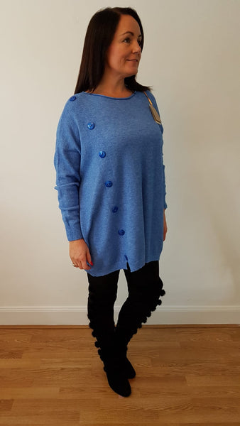 Oversized Supersoft Jumpe With Button Detail In Sky Blue