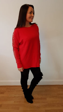 Chic Embellished Red Knitwear With Stunning Bling Detail