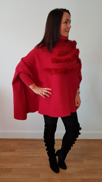Supersoft Polo Jumper/Cape Style With Fur detail In Red