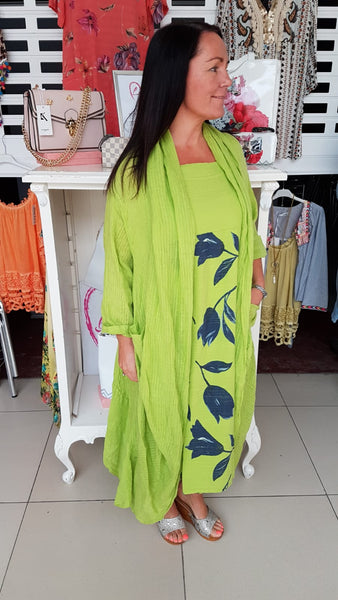 Beautiful Watetfall Cotton/Linen Coat In Lime
