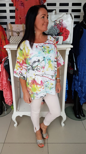 Funky Oversized Cotton Top In White Vibrant Print