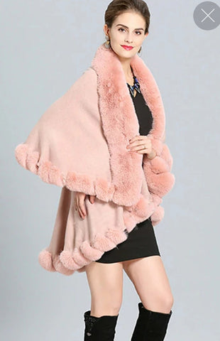 ULTRA SOFT FAUX FUR DOUBLE LAYER PONCHO CAPE BABY PINK  220809-2