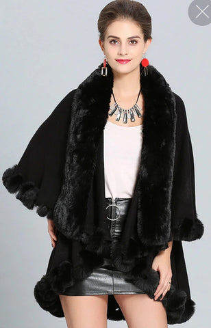 ULTRA SOFT FAUX FUR DOUBLE LAYER PONCHO CAPE BLACK  220809-2