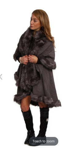 FLUFFY DOUBLE LAYERED FAUX FUR TRIM PONCHO DARK GREY   1 review  60780