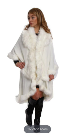 FLUFFY DOUBLE LAYERED FAUX FUR TRIM PONCHO WHITE   1 review  60780