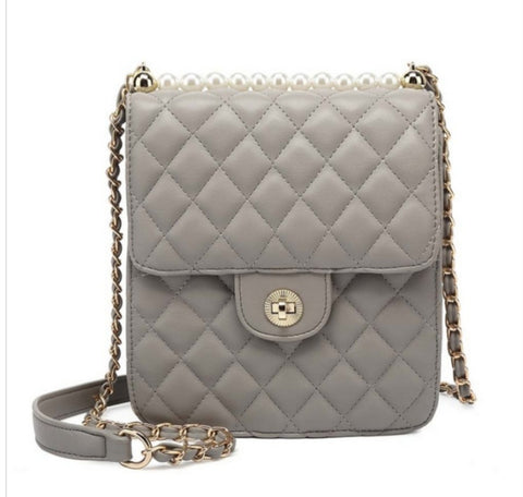 Grey quilted shoulder bag - K-7876