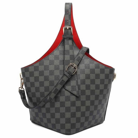 Black Check Print Top Handle Bucket Bag With Red Lining-K-1829