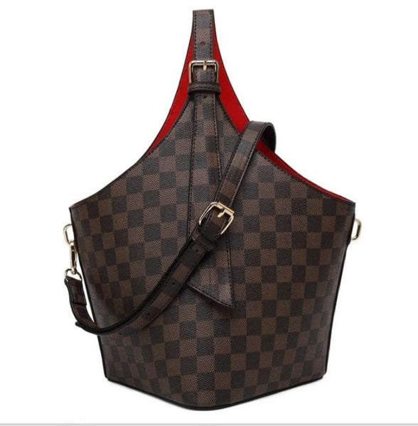 Brown Check Print Top Handle Bucket Bag With Red Lining-K-1829