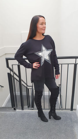 Chic Embellished Black Knitwear With Stunning Large Star Bling Detail