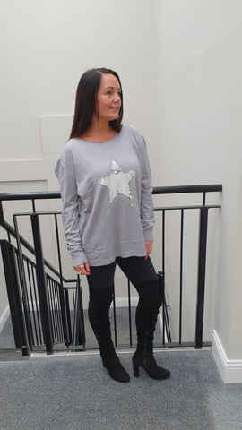 Chic Embellished Grey Knitwear With Stunning Large Star Bling Detail