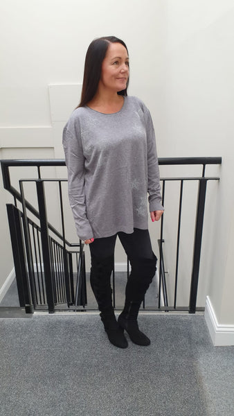 Chic Embellished Knitwear With Stunning Small Star Bling Detai in Grey